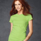 Ladies' Semi-Sheer Junior Fit Longer Length Crewneck T-Shirt