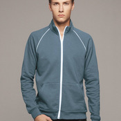 Full-Zip Fleece Cadet Collar Jacket with Piping