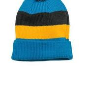 Vintage Striped Beanie with Removable Pom